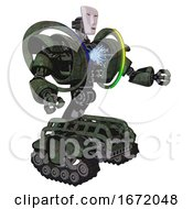 Droid Containing Humanoid Face Mask And Heavy Upper Chest And Heavy Mech Chest And Spectrum Fusion Core Chest And Tank Tracks Old Corroded Copper Interacting