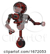 Robot Containing Oval Wide Head And Barbed Wire Cage Helmet And Heavy Upper Chest And No Chest Plating And Unicycle Wheel Cherry Tomato Red Interacting