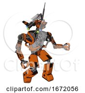 Automaton Containing Dual Retro Camera Head And Communications Array Head And Heavy Upper Chest And No Chest Plating And Prototype Exoplate Legs Secondary Orange Halftone Fight Or Defense Pose
