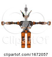 Automaton Containing Dual Retro Camera Head And Communications Array Head And Heavy Upper Chest And No Chest Plating And Prototype Exoplate Legs Secondary Orange Halftone T Pose