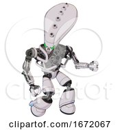 Robot Containing Flat Elongated Skull Head And Heavy Upper Chest And No Chest Plating And Light Leg Exoshielding White Halftone Toon Fight Or Defense Pose