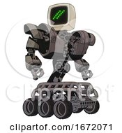 Mech Containing Old Computer Monitor And Double Backslash Pixel Design And Heavy Upper Chest And Heavy Mech Chest And Six Wheeler Base Light Pink Beige Hero Pose
