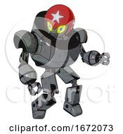 Bot Containing Grey Alien Style Head And Yellow Eyes With Blue Pupils And Stars And Red Helmet And Heavy Upper Chest And Prototype Exoplate Legs Patent Concrete Gray Metal Fight Or Defense Pose