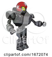 Bot Containing Grey Alien Style Head And Yellow Eyes With Blue Pupils And Stars And Red Helmet And Heavy Upper Chest And Prototype Exoplate Legs Patent Concrete Gray Metal Interacting