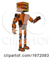 Automaton Containing Dual Retro Camera Head And Cube Array Head And Light Chest Exoshielding And Prototype Exoplate Chest And Ultralight Foot Exosuit Secondary Orange Halftone Interacting