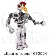 Robot Containing Bird Skull Head And Red Led Circle Eyes And Chicken Design And Heavy Upper Chest And No Chest Plating And Prototype Exoplate Legs White Halftone Toon Interacting