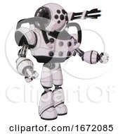 Droid Containing Round Head And Bug Eye Array And Heavy Upper Chest And Chest Energy Sockets And Light Leg Exoshielding White Halftone Toon Interacting