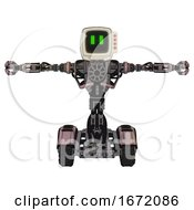 Bot Containing Old Computer Monitor And Pixel Line Eyes And Red Buttons And Heavy Upper Chest And No Chest Plating And Tank Tracks Powder Pink Metal T Pose