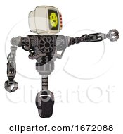 Droid Containing Old Computer Monitor And Yellow Sad Pixel Face And Red Buttons And Heavy Upper Chest And No Chest Plating And Unicycle Wheel Light Pink Beige Pointing Left Or Pushing A Button