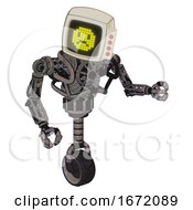 Droid Containing Old Computer Monitor And Yellow Sad Pixel Face And Red Buttons And Heavy Upper Chest And No Chest Plating And Unicycle Wheel Light Pink Beige Fight Or Defense Pose