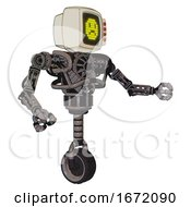 Droid Containing Old Computer Monitor And Yellow Sad Pixel Face And Red Buttons And Heavy Upper Chest And No Chest Plating And Unicycle Wheel Light Pink Beige Interacting