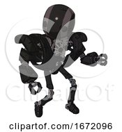 Android Containing Round Head And Maru Eyes And Heavy Upper Chest And Heavy Mech Chest And Ultralight Foot Exosuit Toon Black Scribbles Sketch Fight Or Defense Pose