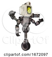 Automaton Containing Old Computer Monitor And Yellow Sad Pixel Face And Retro Futuristic Webcam And Light Chest Exoshielding And Cable Sash And Minigun Back Assembly And Unicycle Wheel