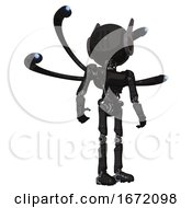 Cyborg Containing Round Head And Three Lens Sentinel Visor And Head Winglets And Light Chest Exoshielding And Ultralight Chest Exosuit And Blue Eye Cam Cable Tentacles And Ultralight Foot Exosuit