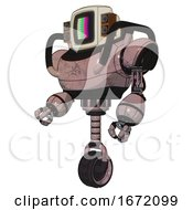 Automaton Containing Old Computer Monitor And Please Stand By Pixel Design And Old Retro Speakers And Heavy Upper Chest And Unicycle Wheel Powder Pink Metal Facing Right View
