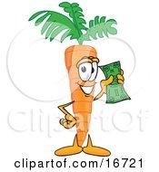 Orange Carrot Mascot Cartoon Character Holding Up A Dollar Bill
