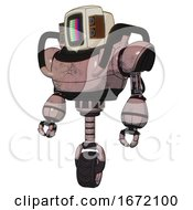 Automaton Containing Old Computer Monitor And Please Stand By Pixel Design And Old Retro Speakers And Heavy Upper Chest And Unicycle Wheel Powder Pink Metal Standing Looking Right Restful Pose
