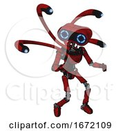 Droid Containing Dual Retro Camera Head And Retro 80s Head And Light Chest Exoshielding And Ultralight Chest Exosuit And Blue Eye Cam Cable Tentacles And Ultralight Foot Exosuit