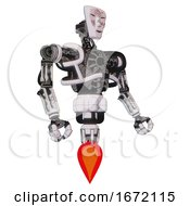 Mech Containing Humanoid Face Mask And Die Robots Graffiti Design And Heavy Upper Chest And No Chest Plating And Jet Propulsion White Halftone Toon Facing Left View