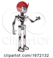 Droid Containing Grey Alien Style Head And Blue Grate Eyes And Red V And Red Helmet And Light Chest Exoshielding And No Chest Plating And Ultralight Foot Exosuit White Halftone Toon Interacting