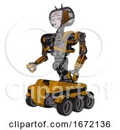 Bot Containing Humanoid Face Mask And Die Robots Graffiti Design And Heavy Upper Chest And No Chest Plating And Six Wheeler Base Worn Construction Yellow Facing Right View