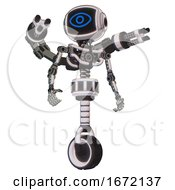Bot Containing Digital Display Head And Large Eye And Light Chest Exoshielding And Minigun Back Assembly And No Chest Plating And Unicycle Wheel White Halftone Toon Hero Pose