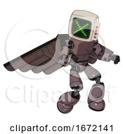Robot Containing Old Computer Monitor And Pixel X And Red Buttons And Light Chest Exoshielding And Prototype Exoplate Chest And Pilots Wings Assembly And Light Leg Exoshielding Dusty Rose Red Metal