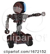 Automaton Containing Round Head And Large Vertical Visor And Head Light Gadgets And Heavy Upper Chest And No Chest Plating And Tank Tracks Steampunk Copper Pointing Left Or Pushing A Button