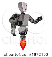 Automaton Containing Humanoid Face Mask And Light Chest Exoshielding And Prototype Exoplate Chest And Rocket Pack And Jet Propulsion Unpainted Metal Interacting