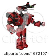 Automaton Containing Dual Retro Camera Head And Communications Array Head And Heavy Upper Chest And Heavy Mech Chest And Shoulder Spikes And Prototype Exoplate Legs Primary Red Halftone Interacting