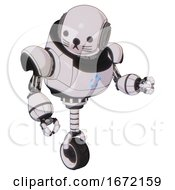 Bot Containing Round Head And Heavy Upper Chest And Circle Of Blue Leds And Unicycle Wheel And Cat Face White Halftone Toon Fight Or Defense Pose