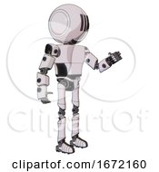 Bot Containing Round Head And Three Lens Sentinel Visor And Light Chest Exoshielding And Prototype Exoplate Chest And Ultralight Foot Exosuit White Halftone Toon Interacting