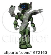 Mech Containing Digital Display Head And Wince Symbol Expression And Winglets And Light Chest Exoshielding And Rubber Chain Sash And Minigun Back Assembly And Prototype Exoplate Legs