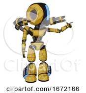 Mech Containing Round Head And Large Vertical Visor And Light Chest Exoshielding And Ultralight Chest Exosuit And Minigun Back Assembly And Light Leg Exoshielding And Megneto Hovers Foot Mod