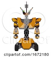 Android Containing Dual Retro Camera Head And Communications Array Head And Heavy Upper Chest And Heavy Mech Chest And Six Wheeler Base Primary Yellow Halftone Front View
