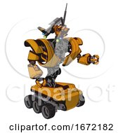 Android Containing Dual Retro Camera Head And Communications Array Head And Heavy Upper Chest And Heavy Mech Chest And Six Wheeler Base Primary Yellow Halftone Fight Or Defense Pose