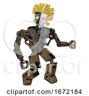 Mech Containing Humanoid Face Mask And Two Face Black White Mask And Heavy Upper Chest And No Chest Plating And Prototype Exoplate Legs Old Copper Fight Or Defense Pose