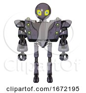 Bot Containing Grey Alien Style Head And Yellow Eyes With Blue Pupils And Heavy Upper Chest And Heavy Mech Chest And Green Cable Sockets Array And Ultralight Foot Exosuit Light Lavender Metal