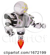 Bot Containing Round Head And Yellow Eyes Array And Heavy Upper Chest And Heavy Mech Chest And Green Cable Sockets Array And Jet Propulsion White Halftone Toon Interacting