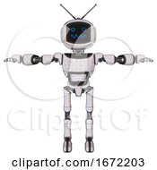 Automaton Containing Digital Display Head And Stunned Expression And Retro Antennas And Light Chest Exoshielding And Chest Green Blue Lights Array And Ultralight Foot Exosuit White Halftone Toon