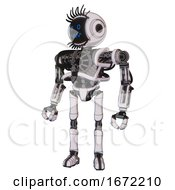 Cyborg Containing Digital Display Head And Stunned Expression And Eye Lashes Deco And Heavy Upper Chest And No Chest Plating And Ultralight Foot Exosuit White Halftone Toon
