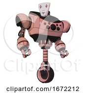 Cyborg Containing Humanoid Face Mask And Red Clown Marks And Heavy Upper Chest And Chest Compound Eyes And Unicycle Wheel Toon Pink Tint Hero Pose