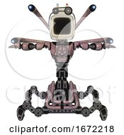 Cyborg Containing Old Computer Monitor And Old Computer Magnetic Tape And Light Chest Exoshielding And Chest Valve Crank And Blue Eye Cam Cable Tentacles And Insect Walker Legs Grayish Pink T Pose