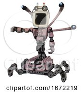 Cyborg Containing Old Computer Monitor And Old Computer Magnetic Tape And Light Chest Exoshielding And Chest Valve Crank And Blue Eye Cam Cable Tentacles And Insect Walker Legs Grayish Pink