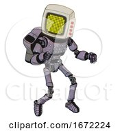 Automaton Containing Old Computer Monitor And Yellow Circle Array Display And Red Buttons And Light Chest Exoshielding And Chest Green Blue Lights Array And Rocket Pack And Ultralight Foot Exosuit