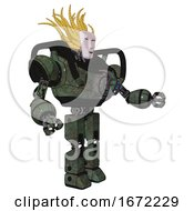 Bot Containing Humanoid Face Mask And Heavy Upper Chest And Chest Energy Gun And Prototype Exoplate Legs Old Corroded Copper Interacting