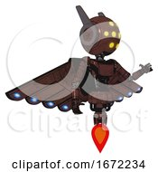 Android Containing Round Head And Yellow Eyes Array And Head Winglets And Light Chest Exoshielding And Ultralight Chest Exosuit And Cherub Wings Design And Jet Propulsion Steampunk Copper