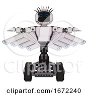 Automaton Containing Digital Display Head And Circle Eyes And Eye Lashes Deco And Light Chest Exoshielding And Prototype Exoplate Chest And Cherub Wings Design And Tank Tracks White Halftone Toon