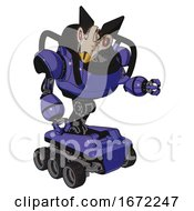 Robot Containing Bird Skull Head And Red Line Eyes And Robobeak Design And Heavy Upper Chest And Six Wheeler Base Primary Blue Halftone Fight Or Defense Pose