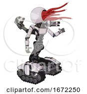 Mech Containing Bright Red Jellyfish Tentacles Fiber Optic Design And Light Chest Exoshielding And Ultralight Chest Exosuit And Minigun Back Assembly And Tank Tracks White Halftone Toon Interacting